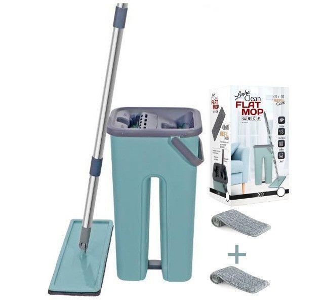 Mop Rodo Tirá Pó Esfregão Com Balde Flat Wash And Dry + Refil Melhor preço!