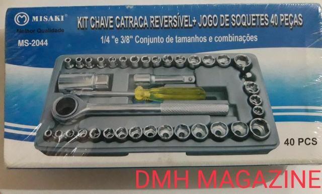 Jogo Chave Soquete Cachimbo Catraca Reversível 40 Pçs Maleta