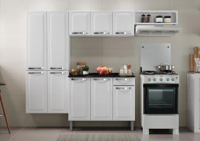 Cozinha Itatiaia Rose 7 Portas Aço e - Balcão com Tampo 3 Portas 1 Gaveta Branco - Foto 2