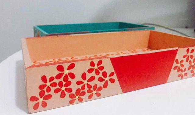 Caixa Retangular Decoupage e Pintura em MDF - Arte em Decoração - Foto 2