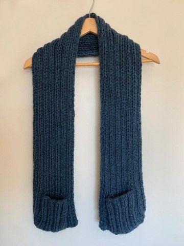 Manta em tricô ou crochê com bolsos  - Foto 5