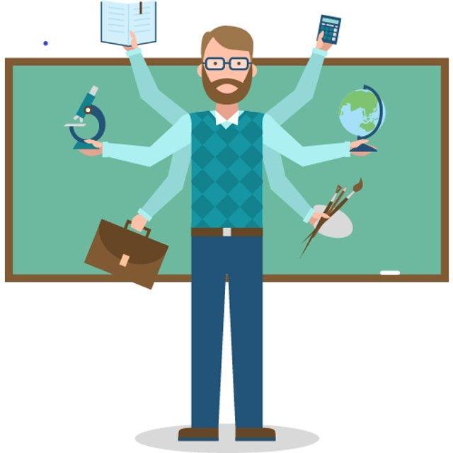 Aulas de Química, Física e Matemática.