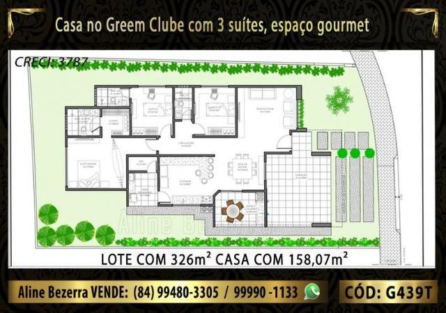 Excelente casa no Green Clube 3 com 3 quartos, lote com 326m² venha conhecer - Foto 3
