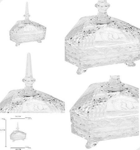Bomboniere Triangular de Vidro com Tampa Utilidades (Entrega Imediata) - Foto 2
