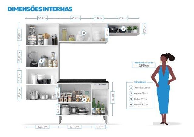 Cozinha Itatiaia Rose 7 Portas Aço e - Balcão com Tampo 3 Portas 1 Gaveta Branco - Foto 3