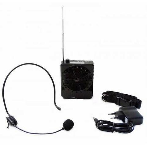 Megafone Portatil Amplificador Kit Professor Com Radio Fm, Microfone E Usb E Sd Recarrega