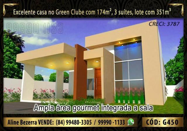 Linda casa no Green clube com 3 suítes, 174m de área construída e lote com 351m