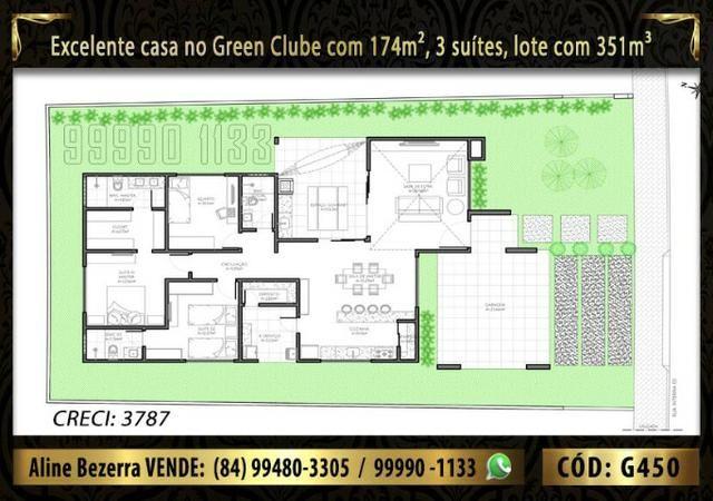 Linda casa no Green clube com 3 suítes, 174m de área construída e lote com 351m - Foto 2