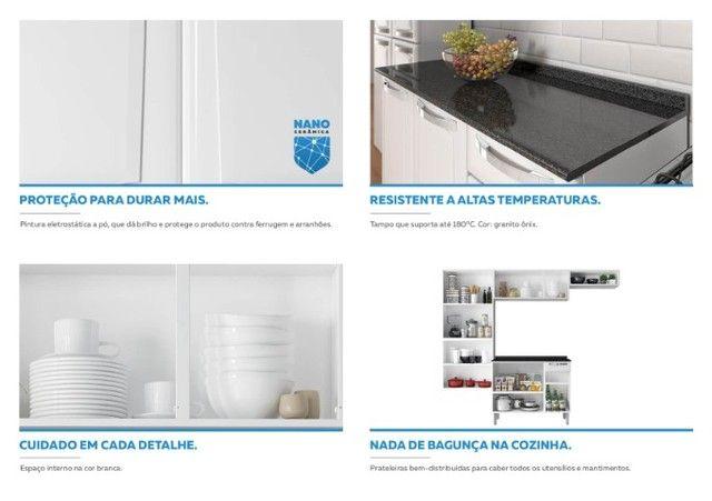 Cozinha Itatiaia Rose 7 Portas Aço e - Balcão com Tampo 3 Portas 1 Gaveta Branco - Foto 6