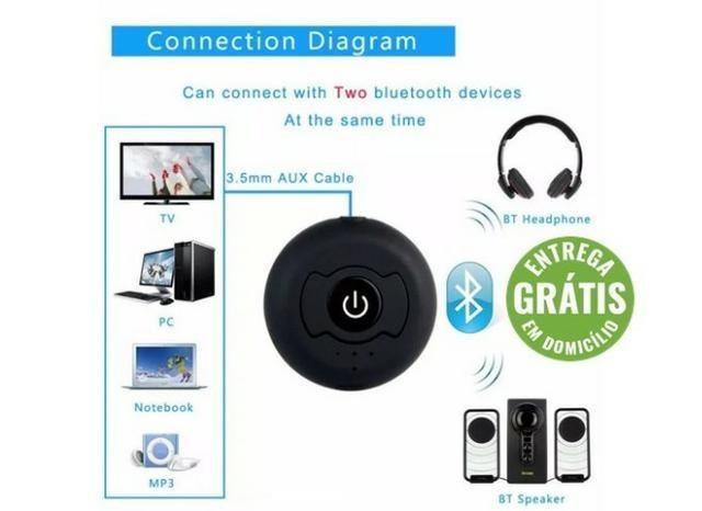 Transmissor bluetooth audio stereo p2, conecta 2 Fones - entrega grátis