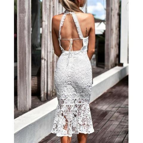 Vestido Midi Em Renda Branco Casamento No Civil