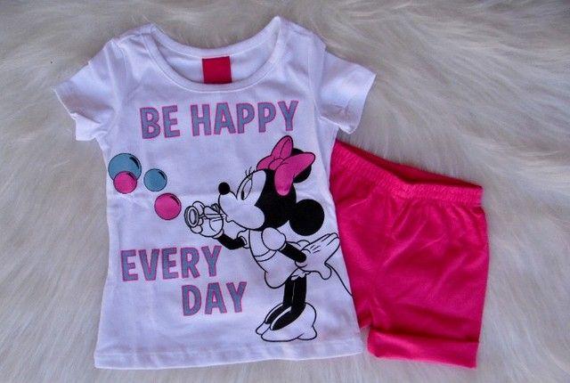 Conjunto Infantil Cativa Disney Menina T-shirt Short Moletom - Foto 5