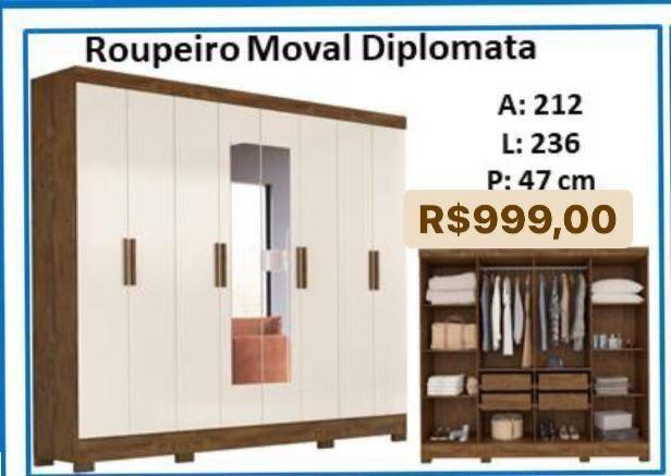 Roupeiro Moval Diplomata 8 Portas com espelho 93390