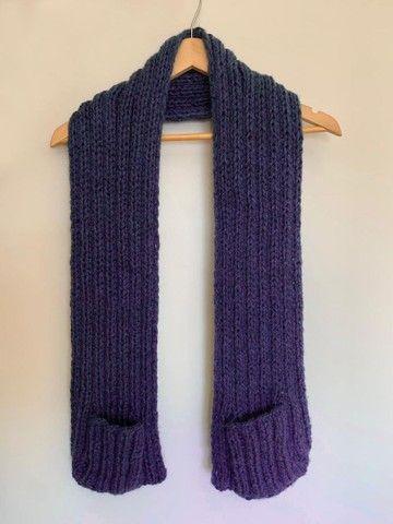 Manta em tricô ou crochê com bolsos  - Foto 2