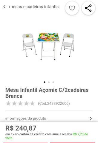 Conjunto infantil, mesa c2 cadeiras preço de desapego