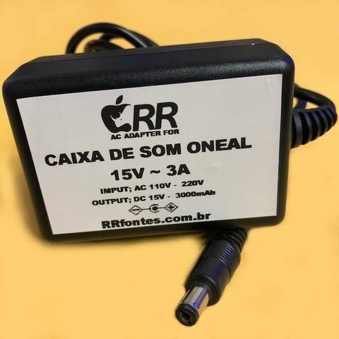 Fonte Carregador 15v Para Caixa De Som Amplificada Oneal