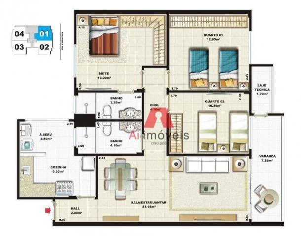 Apartamento com 3 dormitórios à venda, 104 m² por r$ 530.000 - baixa da colina - rio branc - Foto 3