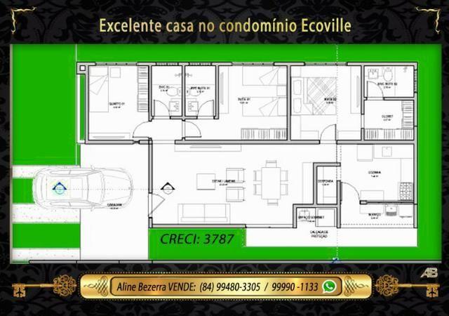 Casa no ecoville, 3 quartos sendo 2 suítes, churrasqueira, confira - Foto 3