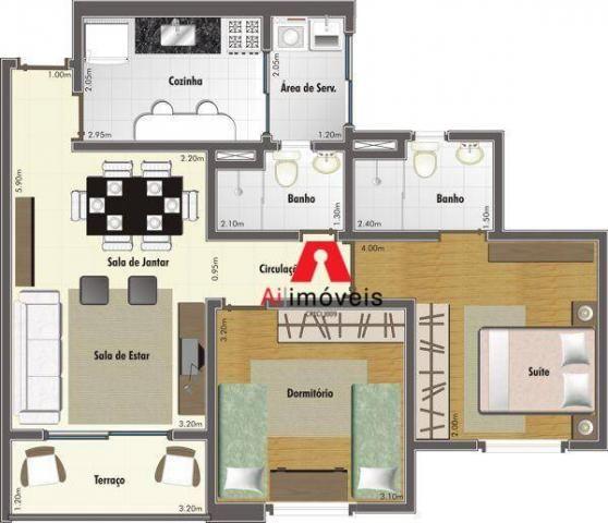 Apartamento com 2 dormitórios sendo 1 suíte, à venda, 67,20 m² por r$ 270.000 - conjunto m - Foto 20