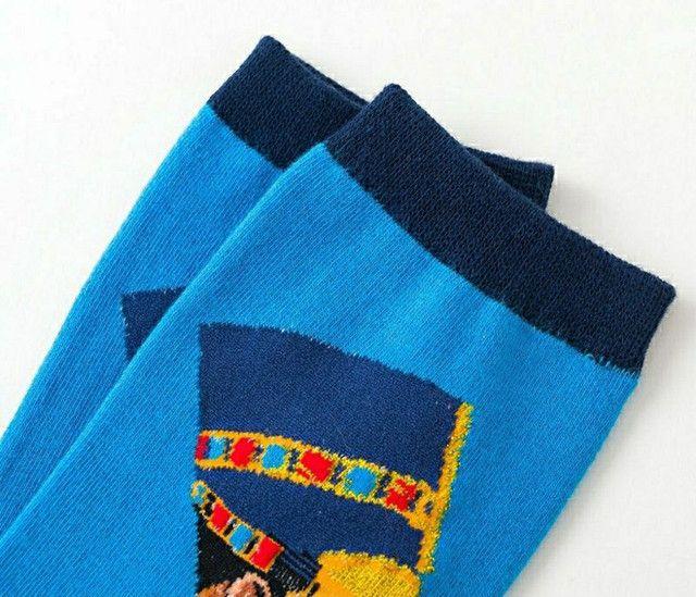 Par de meia de algodão azul cano alto com estampa do faraó  - Foto 4