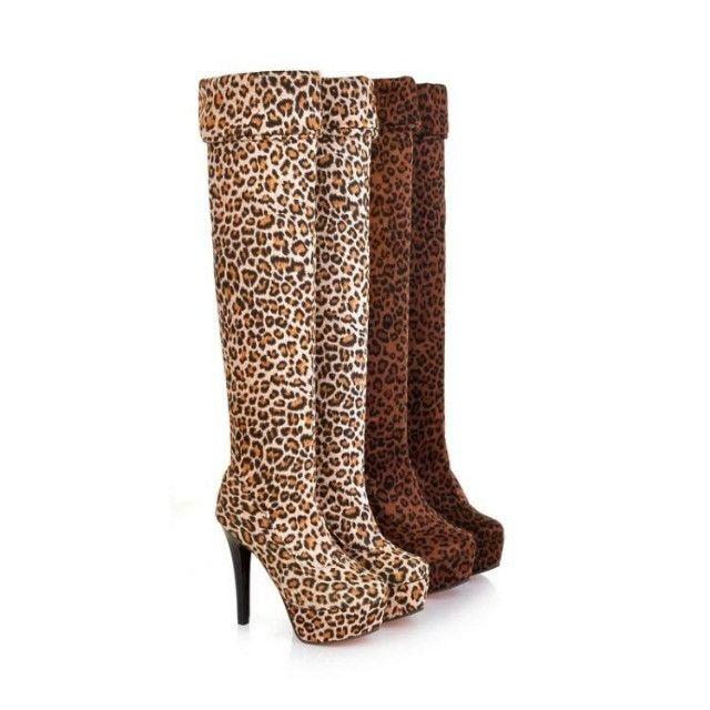 Bota Cano Longo Over The Knee Leopardo