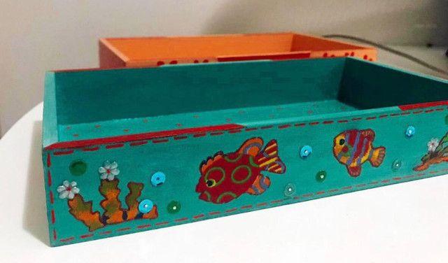 Caixa Retangular Decoupage e Pintura em MDF - Arte em Decoração - Foto 3