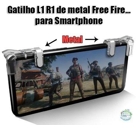 Gatilhos de Metal Gamepad Botões L1-R1 Pubg, Free Fire