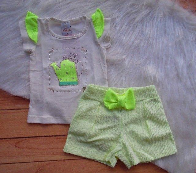 Conjunto Infantil Alekids Blusa Regador E Short Laço Menina - Foto 2