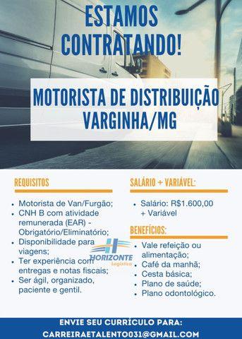 Contrate-se Motorista de Distribuição - Varginha/MG