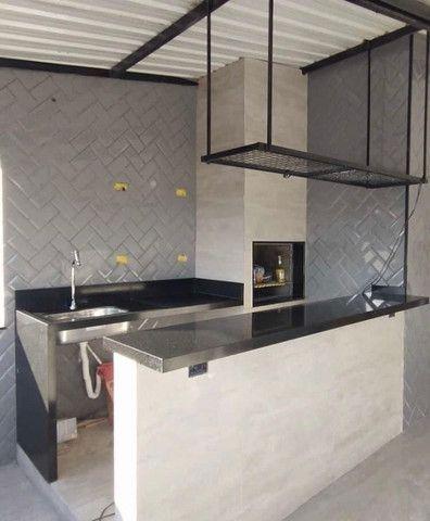 Área de churrasqueira planejada no granito preto São Gabriel - Foto 2