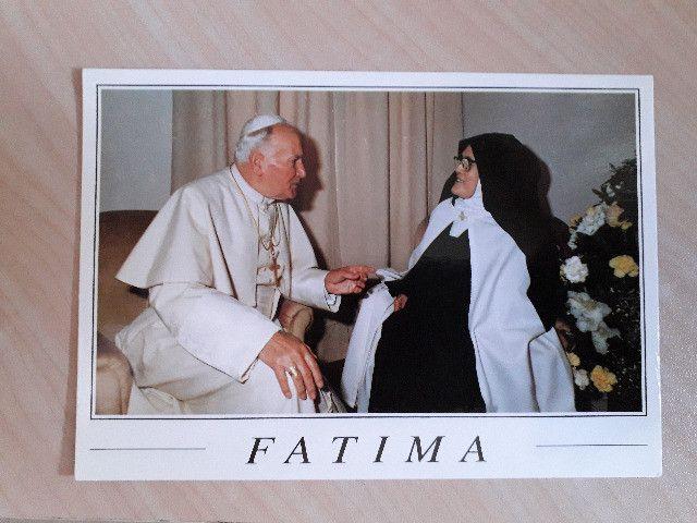 Cartão Postal do encontro do Papa João com Lúcia Jacinto - Fátima Portugal
