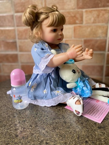 Linda bebê Reborn toda em Silicone realista Nova Original olhos azuis (Aceito Cartão) - Foto 3
