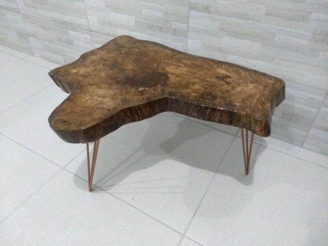 Mesa de Centro rústica com pés Hairpin Leg Triplo