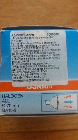 Duas lâmpadas Osram Halospot 70 50 W 12 V 24° BA15D Novas - Foto 4