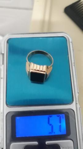 Anel de ouro 750 18k com pedra onix - Foto 4