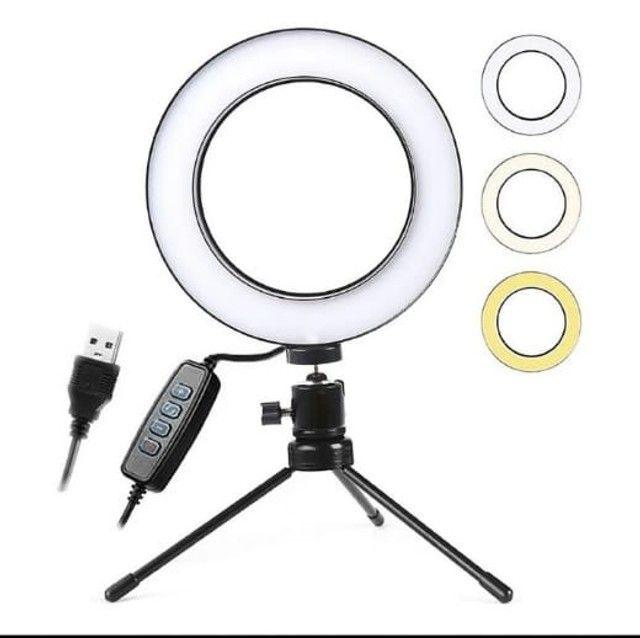 Ring Light De Mesa Iluminador De Led Tripé 6 Polegadas 16cm - Foto 3
