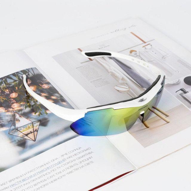 Kit Óculos 5 Lentes Polarizado para Ciclismo Bike MTB Speed Pedal Pescaria Futevôlei - Foto 4