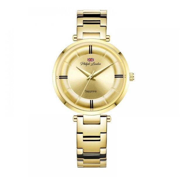 Relógio Feminino Philiph London Vidro Safira Ref: Pl *f Ch