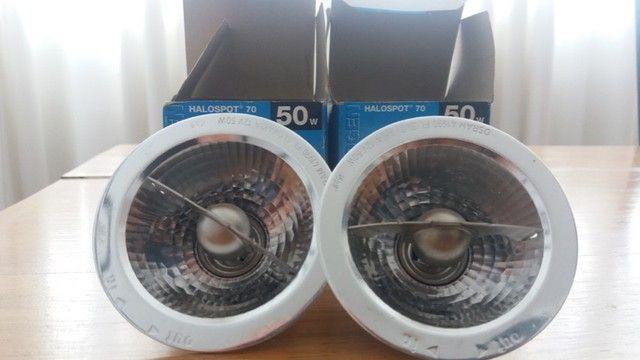 Duas lâmpadas Osram Halospot 70 50 W 12 V 24° BA15D Novas - Foto 2