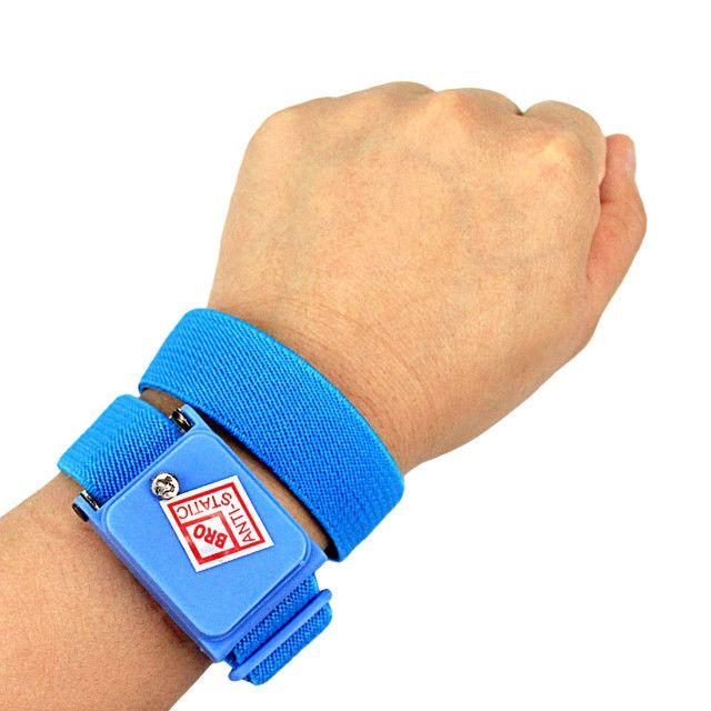 Pulseira Proteção Anti Estática Profissional Sem Fio - Azul - Foto 2