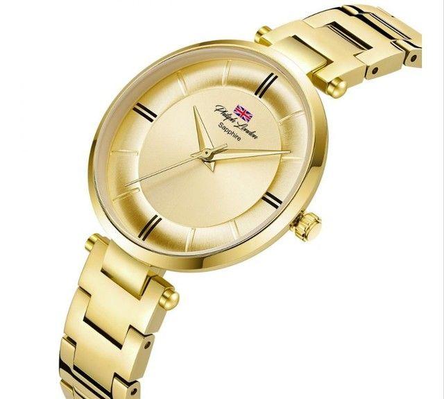 Relógio Feminino Philiph London Vidro Safira Ref: Pl *f Ch  - Foto 2