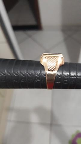 Anel de ouro 750 18k com pedra onix - Foto 3