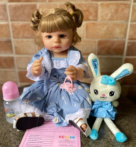 Linda bebê Reborn toda em Silicone realista Nova Original olhos azuis (Aceito Cartão) - Foto 5