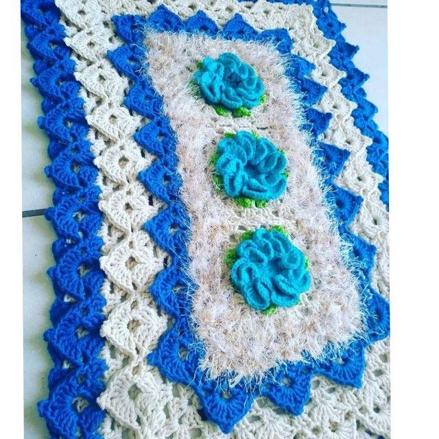 Tapete em crochê azul - Foto 2