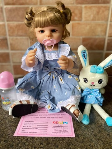 Linda bebê Reborn toda em Silicone realista Nova Original olhos azuis (Aceito Cartão) - Foto 4