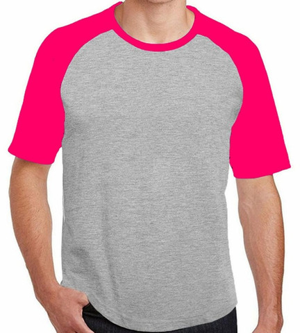 Camiseta Raglan 100% Algodão - Cinza Mescla Mangas Rosas