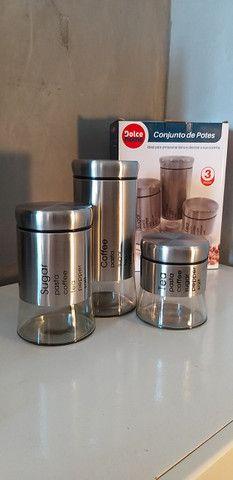 Conjunto com 3 Potes de Vidro com Aço Inox Escovado [Entrega GRÁTIS*] - Foto 4