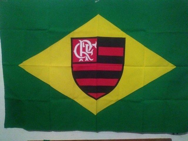 Bandeira Brasil Com Simbolo Escudo Flamengo Rj Urubu Mengão Torcedor Futebol