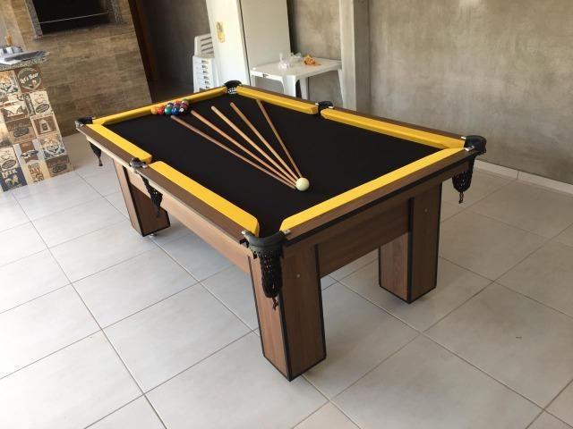 Mesa de Bilhar com Redes Cor Imbuia Bordas Amarelas Tecido Preto Modelo FRW1478 - Foto 3