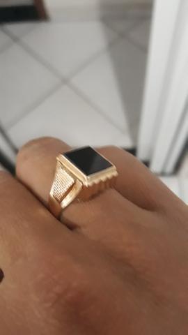 Anel de ouro 750 18k com pedra onix - Foto 2